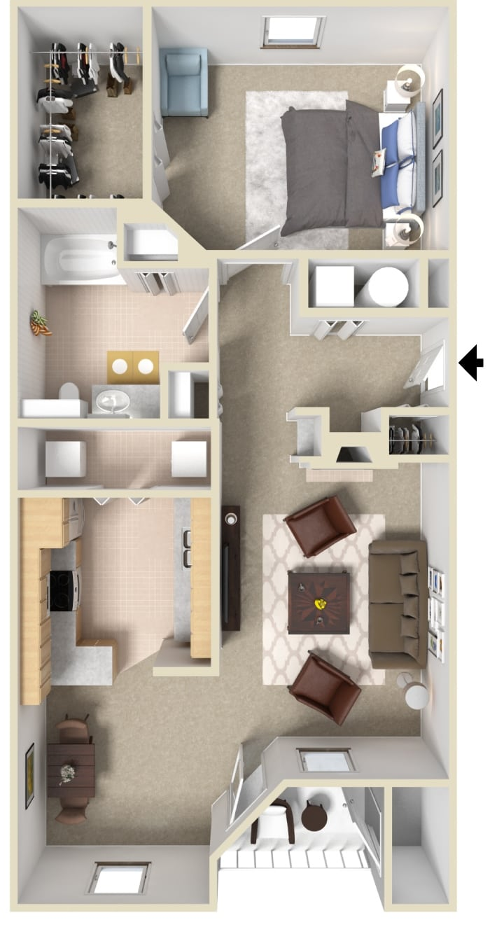 one bedroom one bath floorpan for 945 sq ft apartment