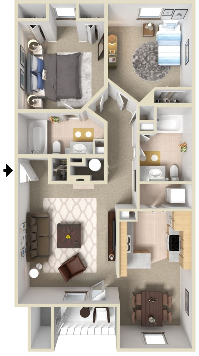 1065 sq ft apartment floorpan 2 bedrooms 2 bathrooms