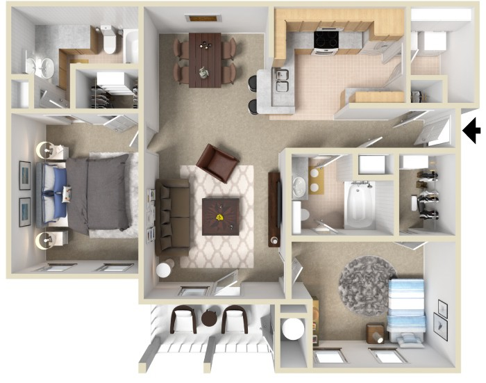 floor plan for 2 bedroom, 2 bath apartment 1107 square feet