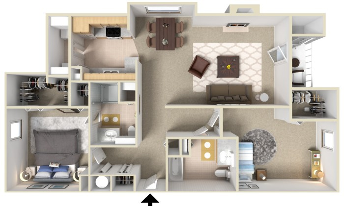South bluffs apartments two bedroom 1200 sq ft for Apartment plans 1200 sq ft
